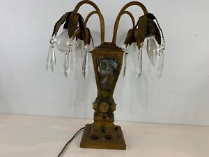Ant Art Deco Native American Indian Chief Spelter & Glass Woodland Scene Lamp