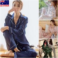 2Pcs Women Silk Satin Sleepwear Long Sleeve Pajamas Pj's Set Home Suit Nightwear