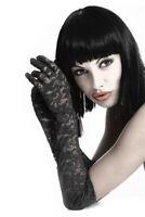 Long Lace Gloves Chilirose Opera Length Evening Bridal - Black