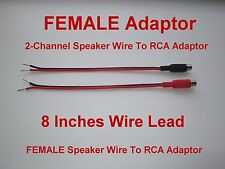 2 - Channel Speaker Wire To RCA Adapter For Amp Receiver Powered Speakers Female