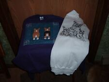 2 Long Sleeve Sweatshirts With Pembroke Welsh Corgi Designs On Front Corgi Butts