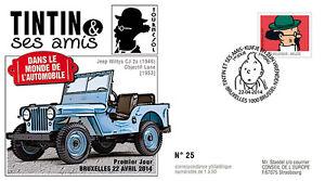 "FDC BELGIQUE ""TINTIN et ses Amis - VOITURE / JEEP WILLYS - TOURNESOL"" 2014"