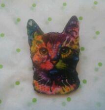 Orange Tabby Cat Face Round Pet Kitty Metal Lapel Hat Pin Tie Tack Pinback