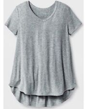 Girls' Drapey V-Neck Ribbed T-Shirt by Art Class Heather Gray XS 4/5 NWT