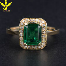 Natural Colombia Emerald & Diamond Solid 18K Yellow Gold Engagement Wedding Ring