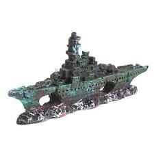 Wreck Sunk Ship Aquarium Ornament Sailing Boat Destroyer Fish Tank Cave Decor