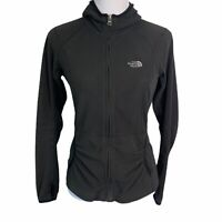 The North Face TKA 100 Black Ruched Front Pockets Zip Up Fleece Jacket Womens S