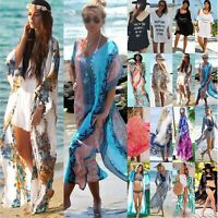 Womens Kimono Bikini Cover Up Loose Blouse Tops Shirt Long Cardigan Beach Dress