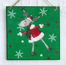 Wall hanging sign/picture Christmas Winter Skating Reindeer in Santa's hat coat