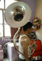 """SOUSAPHONE 22"""" BELL NEW  OF PURE BRASS IN SILVER CHROME + CASE +  FREE SHIPPING"""