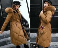 Women's Winter Long Down Jacket Fur Collar Hooded Puffer Quilted Padded Coat HOT