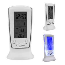 Digital Backlight LED Display Table E Alarm Clock Snooze Thermometer Calendar UP