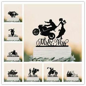 Wedding Cake Topper Mixed Funny Motorcycle Couple Acrylic Bride Groom Topper