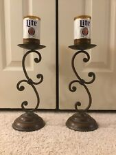 (2) LOT MILLER LIGHT BEER Bottle Candle Holders Hand Crafted 100% Soy Beer sign