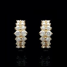 1.00Ct Created Diamond Cluster Huggie Earrings Solid 14K Yellow Gold Round VVS1