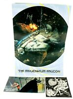 Vintage STAR WARS Millennium Falcon Poster 1994 Two Sided 20 x 14 + Topps Card