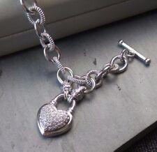NEW JCPenney 1/4 Carat Diamond Bracelet Sterling Silver Dia Heart Toggle Lock