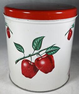 Vintage 1940s DECOWARE Tin Metal Canister Kitchen Decor Red Apple Motif