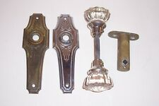 Antique Art Deco Door Plates Hardware Glass Knobs Brass and Chrome Very Nice