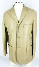 38R Hugo Boss Spak Mens 100% Genuine Leather 3 Button Blazer Sport Coat Sand