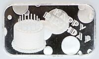 2020 Happy Birthday 999 Silver Medal 1 oz Art Bar ingot Gift BDay Cake Balloons