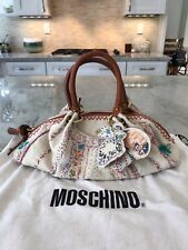 RARE MOSCHINO EMBROIDERED BUNNY TURTLE SATCHEL TOP HANDLE DOCTOR BAG