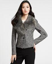Womens Ann Taylor Jacket Blazer size 10 gray removable faux fur