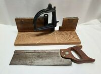 Vintage Stanley Miter Box Wood Woodworking Hand Saw Adjustable Carpentry Tool