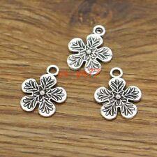 30pcs Flower Charm Floral Plant Metal Charms Antique Silver Tone 18x22mm 3023