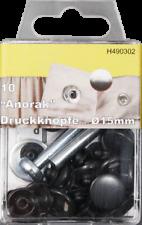 10 Anorak Jackenknopf Knopf Druckknopf schwarz 15mm mit Einschlaghilfe Metall