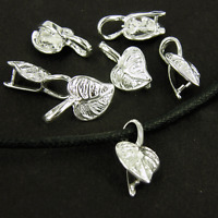 Leaf Ornate Silver Plated Pendant Bails Jewellery Making Findings Beads K130