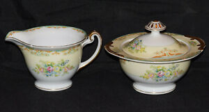 Antique Meito China Cream and Sugar Hand Painted Floral Motif
