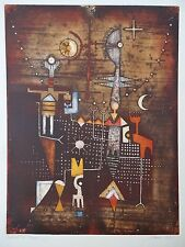 DIANA HANSEN EARTH FIRE AQUATINT ETCHING NATIVE AMERICAN 1979 103/200 ABSTRACT