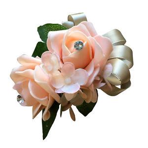 Wrist Corsage -Peach Color Foam Roses with Rhinestones
