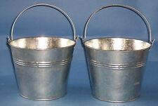 "Set of 2 Galvanised metal buckets  large 7"" size"
