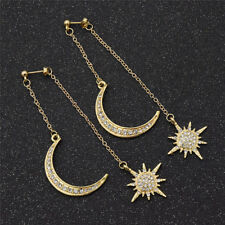 Crystal Moon Earring Star Earring Rhinestone Long Pendant Dangle Fashion Jewelry