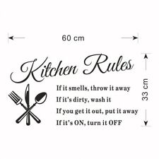 Kitchen Rule Wall Stickers Decal Home Decor Vinyl Art Mural Removable Decor IC1C