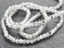 "2.5mm MICRO FACETED FLECKED RAINBOW MOONSTONE RONDELLES, 13"", 160 beads"
