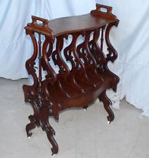 Antique Victorian Canterbury Bookcase Holder walnut Rococo Revival