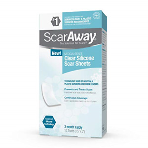 ScarAway Clear Silicone Scar Sheets, White, 10 Count