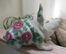 Wemyss Ware Style Pottery Pig with Cabbage Roses and Bee - 15' 'Long!