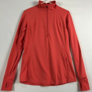 Lululemon Runderful 1/2 Zip Pullover Size 10 Thumb Holes Coral