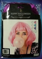SHORT PURPLE WIG HAPPY HALLOWEEN  11.5 INCHES