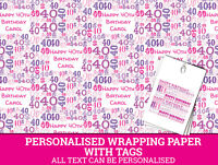 Personalised Happy 40th Birthday Wrapping paper - Pink 40th Gift Wrap