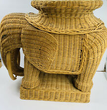 Vintage Tan Wicker Elephant End Table Stand