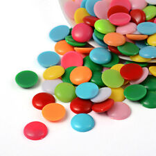 100pcs Solid Colour Dome Acrylic Plastic Cabochons Half Round Mixed Color 14x4mm