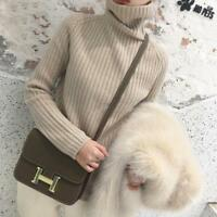 Womens Turtleneck Slim Fit Cashmere Casual Sweater Warm Knitted Pullover Tops U9