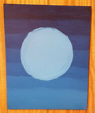 Original 16x20 Acrylic Painting on Canvas Blue Moon Modern Art Abstract