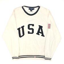 Vtg 90's Ralph Lauren Polo Sport Usa crew Neck Sweater Grey Navy Blue Flag L