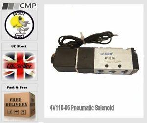 4V110-06 Pneumatic Solenoid Valve DC 24V airtac 5 Port 2 Position 1/8 UK Seller